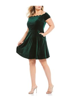 Plus Scalloped Off The Shoulder Velvet Dress by B. Darlin