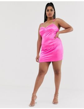 Katchme Plus Satin Mini Dress With Buckle Detail In Hot Pink by Plus Size Dress