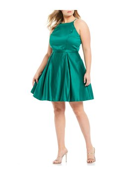 Plus High Neck Satin Fit &Amp;Amp; Flare Dress by City Vibe