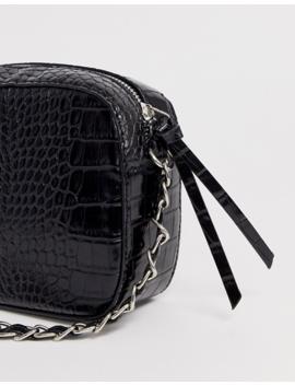 Stradivarius Moc Croc Cross Body Bag In Black by Stradivarius