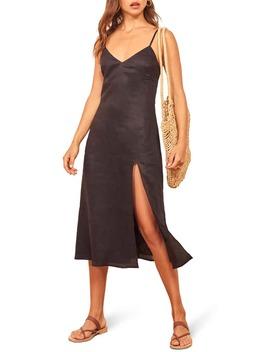 Brianna Side Slit Linen Dress by Reformation