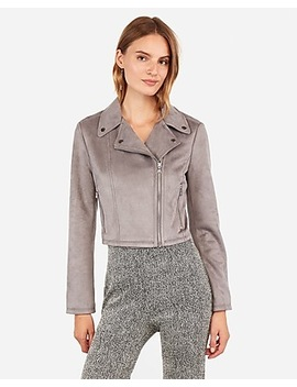 Faux Suede Cropped Moto Jacket by Express