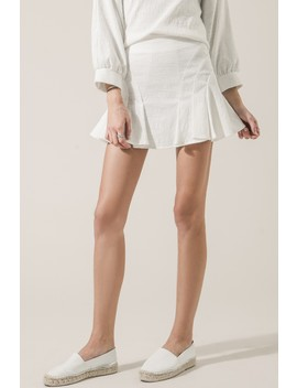 Pleated Linen Blend Mini Skirt by Moon River