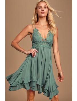 Adella Slip Sage Blue Lace Dress by Free People