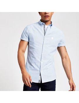 Blue Stripe Short Sleeve Oxford Shirt by River Island