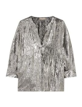 Crinkled Silk Blend Lamé Blouse by Michael Kors Collection