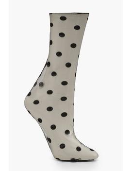 Mesh Polka Dot Ankle Socks by Boohoo