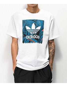Adidas Blackbird Print White &Amp; Teal T Shirt by Adidas