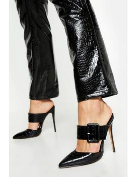 Pointed Buckle Detail Court Mules by Boohoo