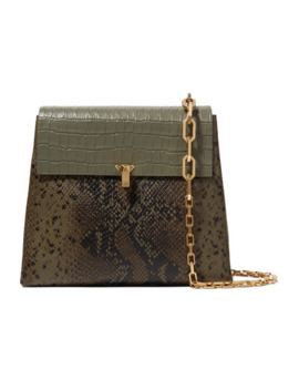 Po Day Croc Effect, Snake Effect And Textured Leather Shoulder Bag by The Volon