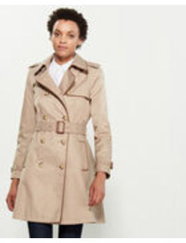 Faux Leather Piped Belted Trench by Lauren Ralph Lauren