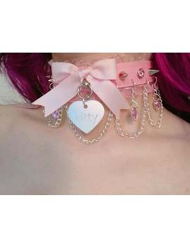 Made To Order: Pink Luxury Faux Leather Ruffle Pastel Kitty Diamond Hearts Rhinestone Spike Chain Collar by Etsy