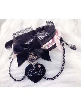 Made To Order: Black Faux Leather Cute Pastel Pink Multi Rhinestones Dangling Black Chains Black Hearts Pink Bows Doll Buckle Luxury Collar by Etsy