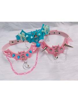 Made To Order: Pastel Goth Pink And Blue Batty Kawaii Spiked Chain Fancy Simple Chokers by Etsy