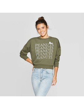 Women's Peanuts Snoopy Long Sleeve Graphic Sweatshirt (Juniors')   Olive by Olive