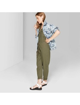 Women's Sleeveless Collared Button Front Utility Jumpsuit   Wild Fable Olive by Wild Fable Olive
