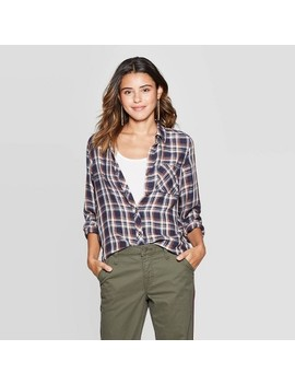 Women's Plaid Long Sleeve Crewneck Button Down Shirt   Universal Thread by Down Shirt