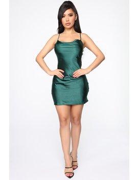 Late To The Party Satin Mini Dress   Hunter Green by Fashion Nova