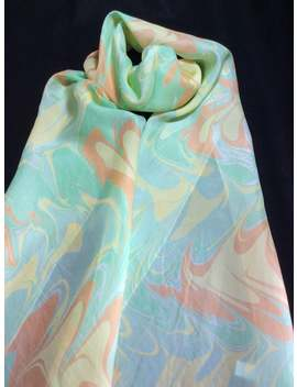 Green, Yellow And Orange Swirled Ebru Water Marbled 100% Silk Scarf by Etsy