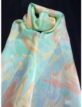 Green, Yellow And Orange Swirled Ebru Water Marbled 100% Silk Scarf by Etsy