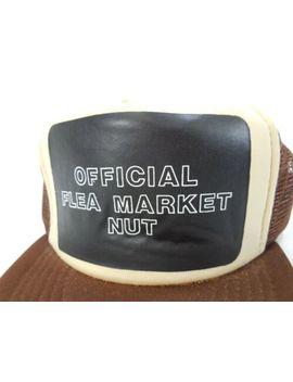Vintage Retro Snap Mesh Back Official Flea Market Nut Truckers Hat Cap Brown by Unknown