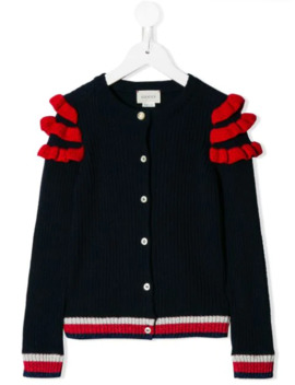 Ruffle Trimmed Cardigan by Gucci Kids