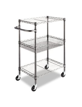 Three Tier Wire Rolling Cart, 28w X 16d X 39h, Black Anthracite by Alera