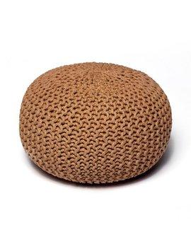 Natural Jute Round Knit Pouf, Tan by Anji Mountain