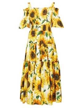 Sunflower Print Tiered Cotton Poplin Midi Dress by Dolce & Gabbana