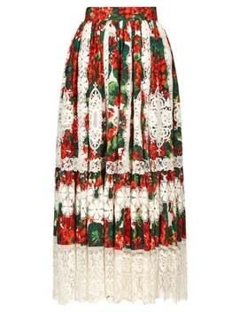 Geranium Print Macramé Hem Poplin Midi Skirt by Dolce & Gabbana