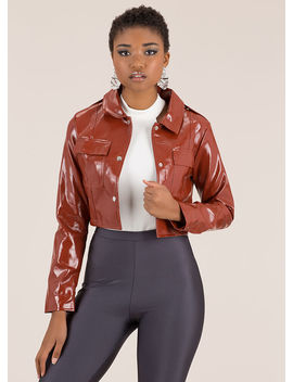 Chic City Cropped Faux Patent Jacket by Go Jane