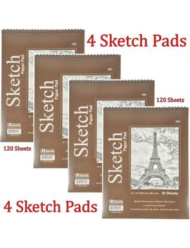 """4 Bazic Spiral Sketch Pad Book 9"""" X 12"""" 120 Paper Sheets For Pencil Ink Pastel by Bazic"""