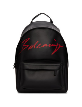Black Small Script Logo Everyday Backpack by Balenciaga