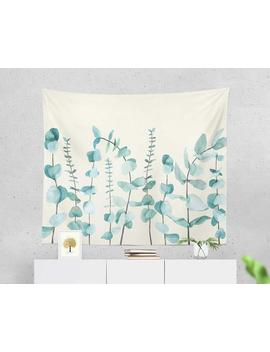 Eucalyptus Leaves Tapestry, Nature Wall Hanging Tapestry, White, Blue, Green Botanical, Floral, Tropical Dorm Room Decor, Bed Throw, Gift by Etsy