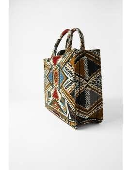 Geometrical Print Tote Bag Bagswoman Shoes &Amp; Bags by Zara