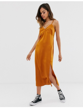 New Look Satin Slip Dress In Rust by New Look