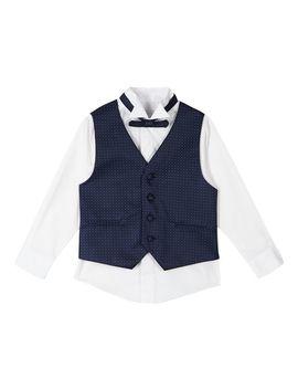 Boys' White Shirt, Navy Waistcoat And Bow Tie Set by Rjr.John Rocha