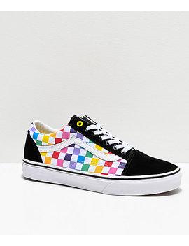 Vans Old Skool Black, White &Amp;Amp; Rainbow Checkerboard Skate Shoes by Vans