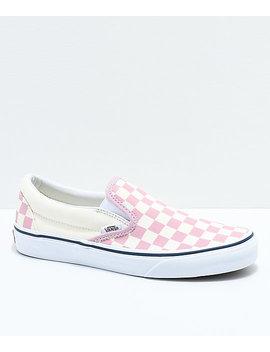 Vans Slip On Zephyr Pink &Amp;Amp; White Checkered Skate Shoes by Vans