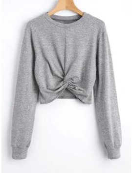 Sale Heathered Cropped Twist Sweatshirt   Gray M by Zaful