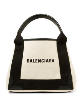 皮革边饰 Logo 印花帆布手提包 by Balenciaga