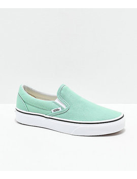 Vans Slip On Neptune Green &Amp;Amp; White Skate Shoes by Vans