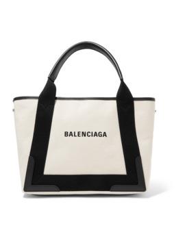 Cabas 皮革边饰帆布小号手提包 by Balenciaga