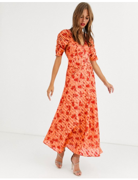 Asos Design Button Through Maxi Tea Dress With Ruched Sleeves In Floral Print by Asos Design
