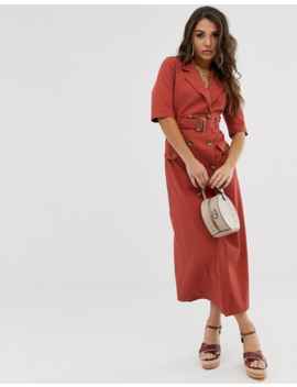 Asos Design Denim Double Breasted Midi Dress With Short Sleeve In Rust by Asos Design