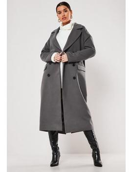 Dark Grey Oversized Double Breasted Midaxi Coat by Missguided