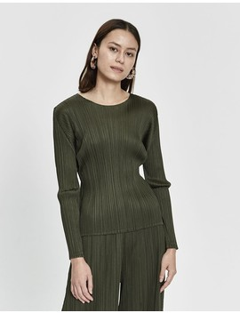 Long Sleeve Top In Dark Olive by Pleats Please By Issey Miyake
