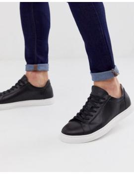 Selected Homme – Ledersneaker Mit Kontrastsohle In Schwarz by Asos