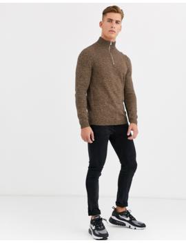 Asos Design Midweight Cotton Half Zip Sweater In Tan Twist by Asos Design
