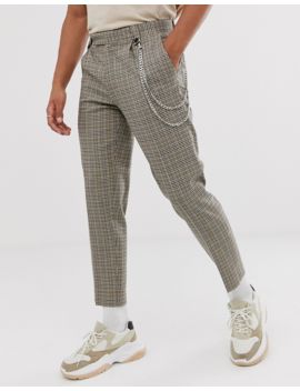 Asos Design Slim Crop Smart Pants In Gray Wool Mix Check With Chain by Asos Design